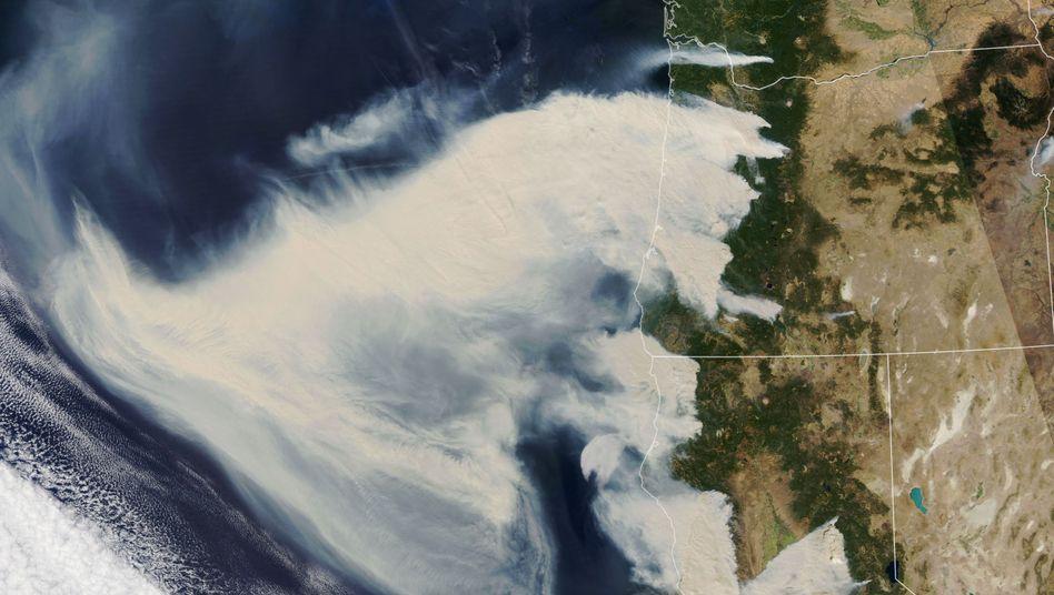 Dutzende extrem starke Brände sorgen für riesige Rauchschwaden, die auf den Pazifik ziehen