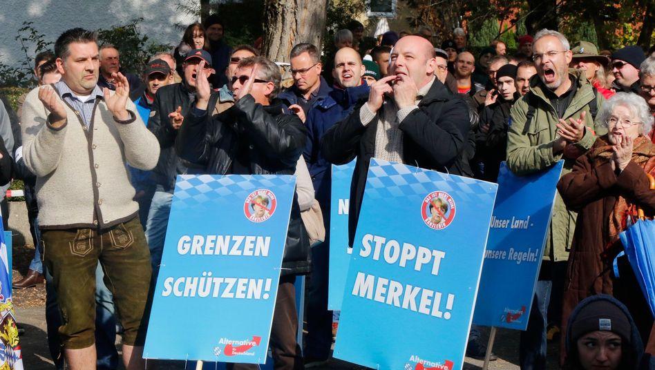 Demonstranten nehmen unter Führung der rechtspopulistischen Alternative für Deutschland (AfD) an einer Kundgebung teil (Archiv)