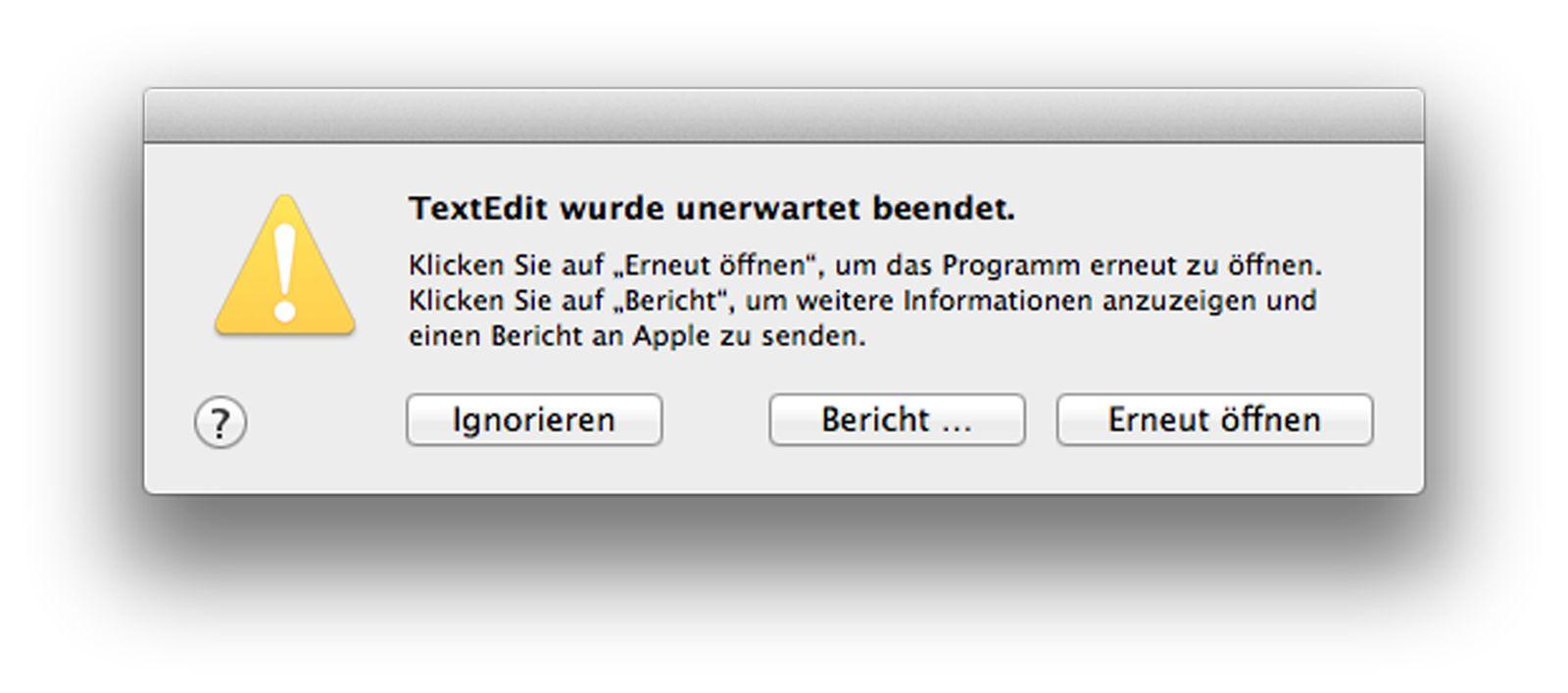 Absturz TextEdit/ Fehlermeldung/ Screenshot