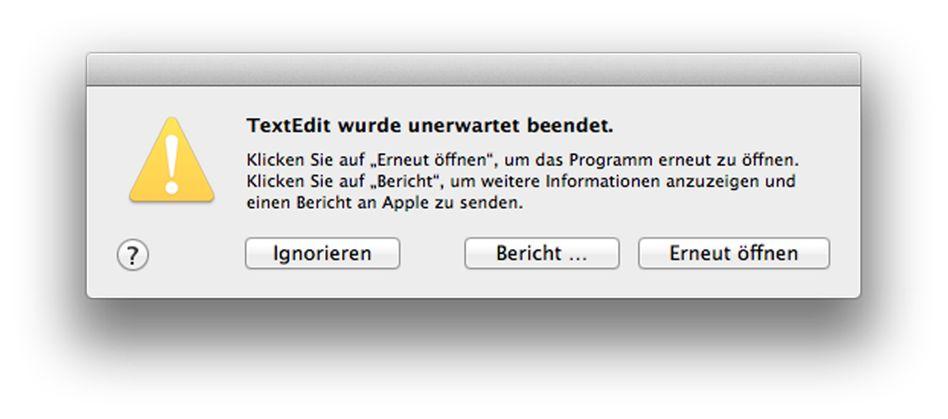 Fehlermeldung: Ein FiLe:/// bringt Apples Texteditor zum Absturz