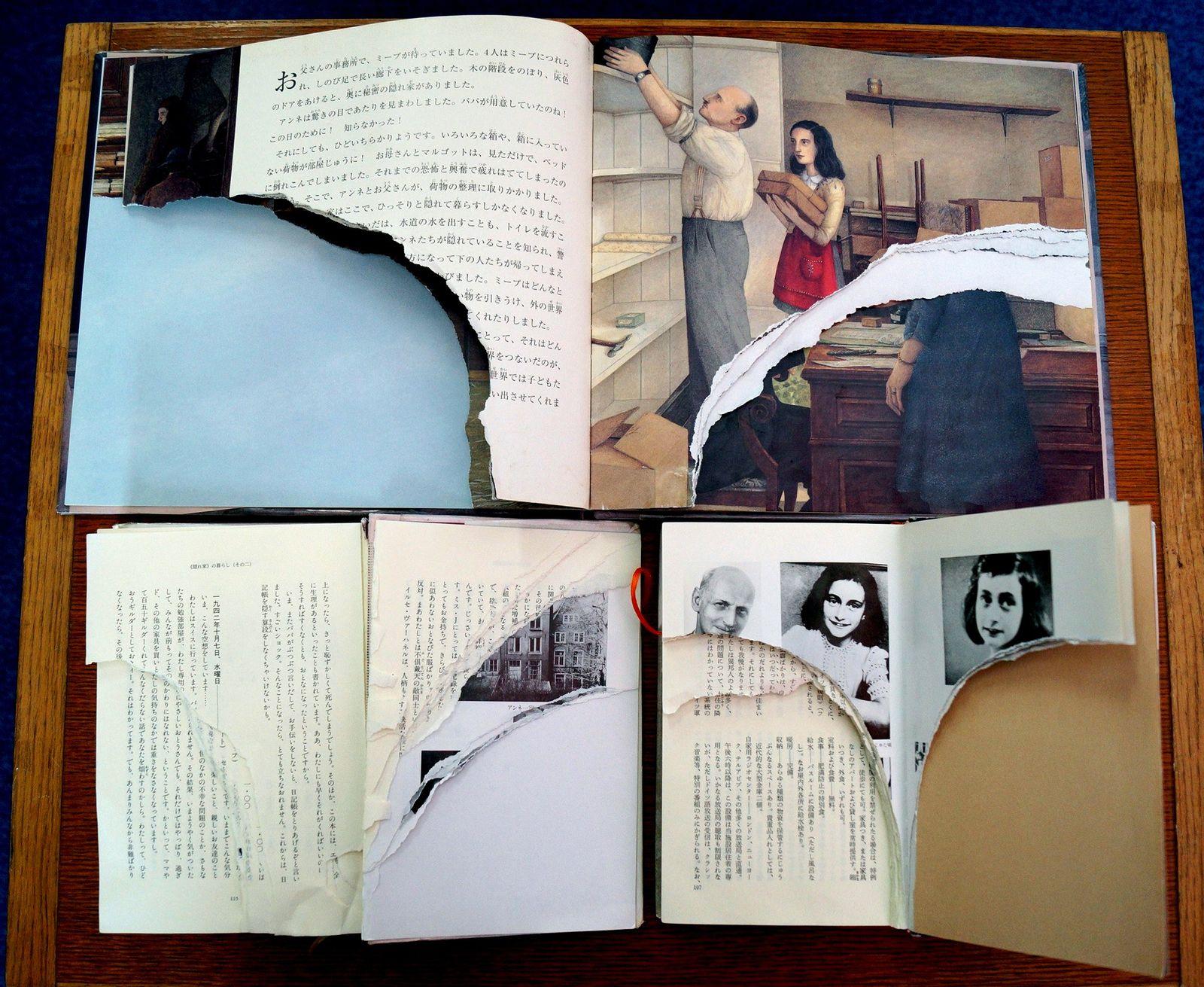 Beschädigtes Tagebuch der Anne Frank