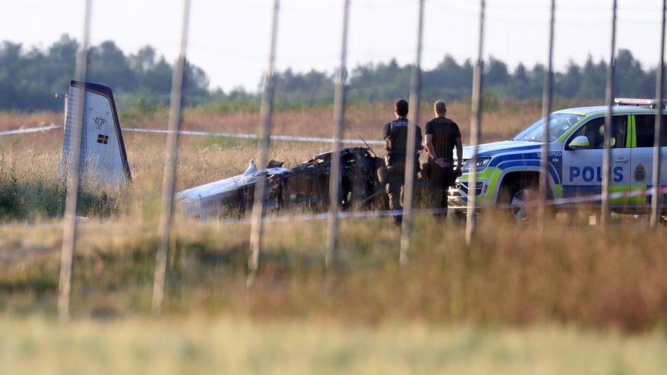 Verunglücktes Kleinflugzeug in Örebro