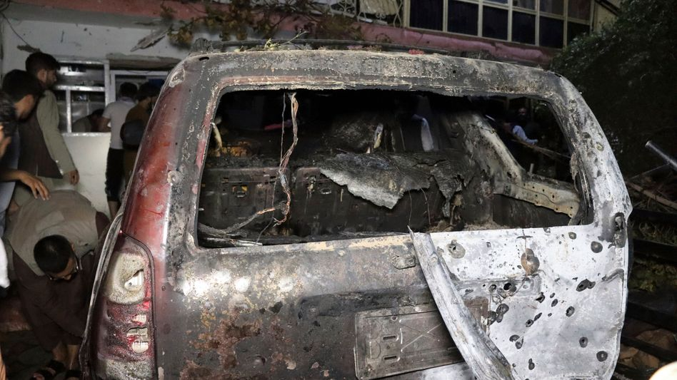 Zerstörtes Fahrzeug nach US-Drohnenangriff am 29. August
