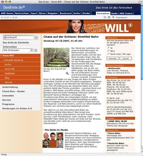 """Screenshot von der Seite von """"Anne Will"""": Einer fehlt"""