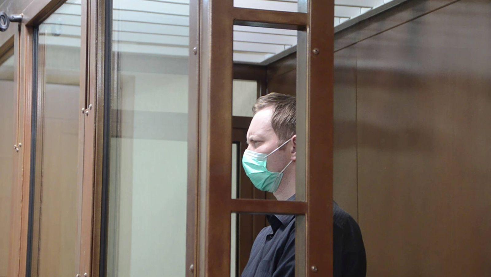 Russland, Juri Jeschtschenko wegen Spionage vor Gericht BRYANSK, RUSSIA - NOVEMBER 20, 2020: Yuri Yeshchenko, detained b