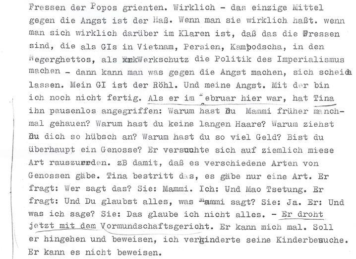 Ausriss aus Meinhof-Brief von 1970