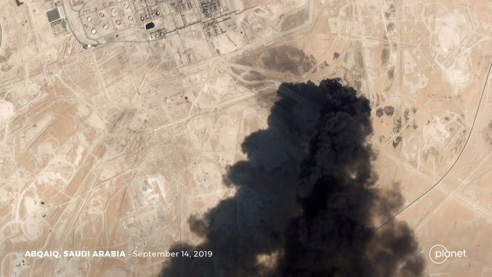A satellite image taken after the strike on the Abqaiq oil facility in Saudi Arabia.
