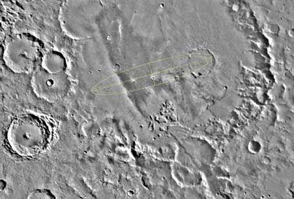 """Gusev-Krater mit Landeellipse: """"Es muss dort einen See gegeben haben"""""""