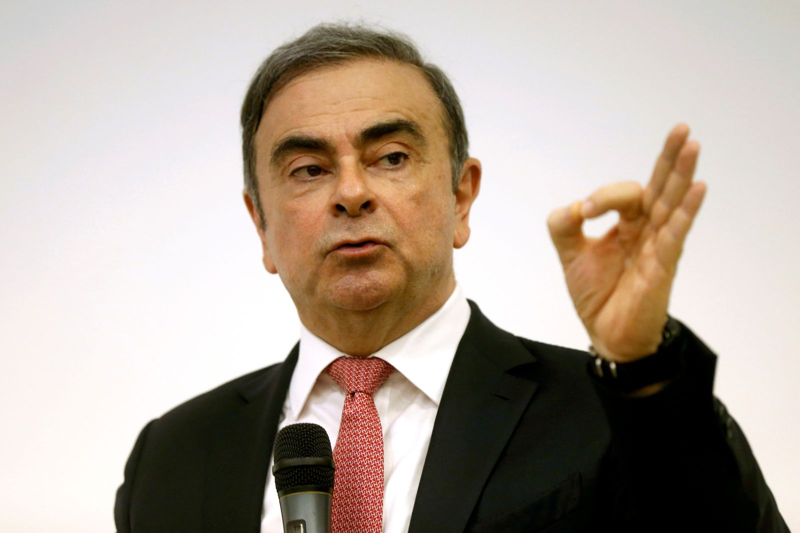 FILE PHOTO: Former Nissan chairman Carlos Ghosn gestures during a news conference at the Lebanese Press Syndicate in Beirut