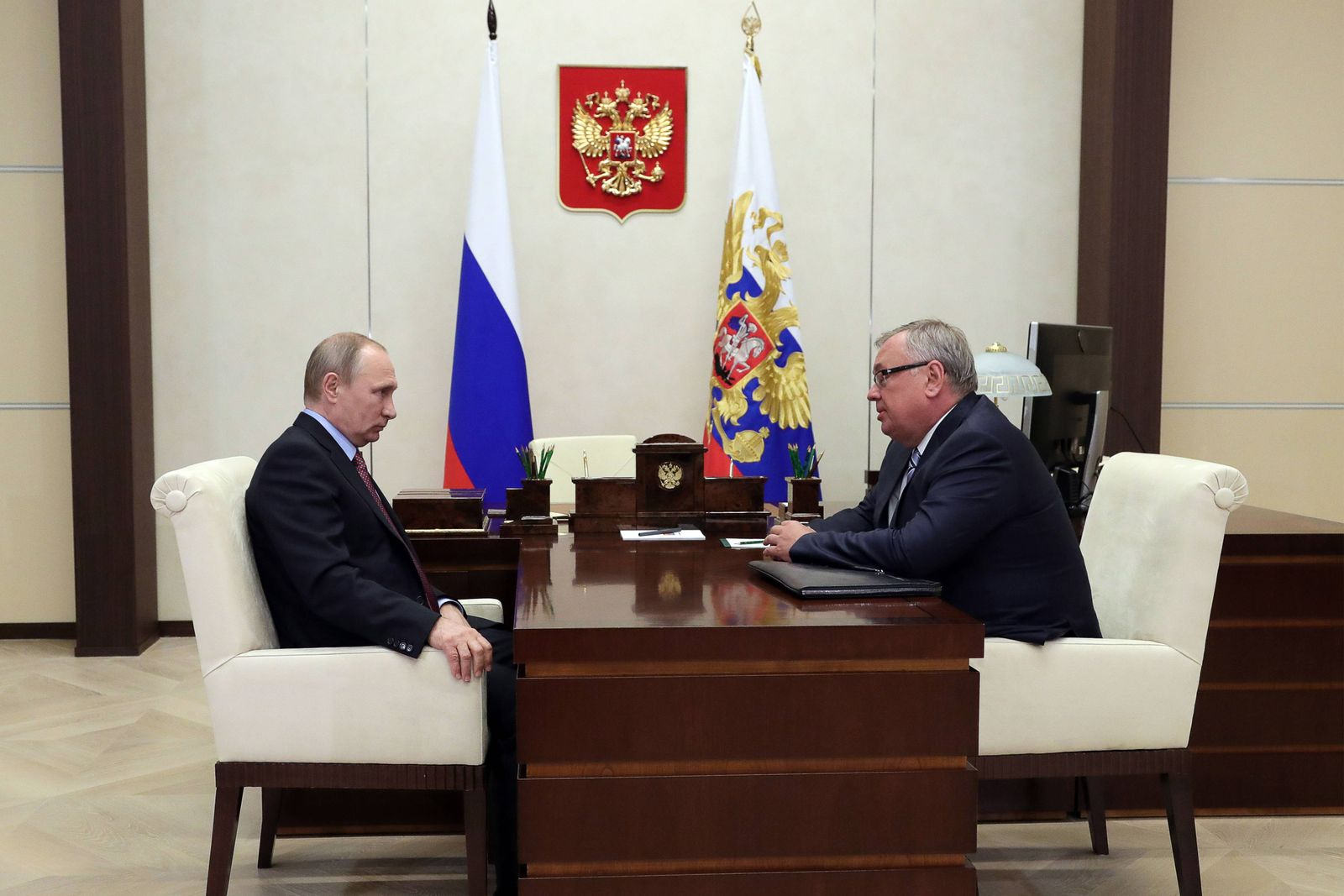 MOSCOW REGION RUSSIA AUGUST 17 2017 Russia s President Vladimir Putin L meets with Andrei Kos
