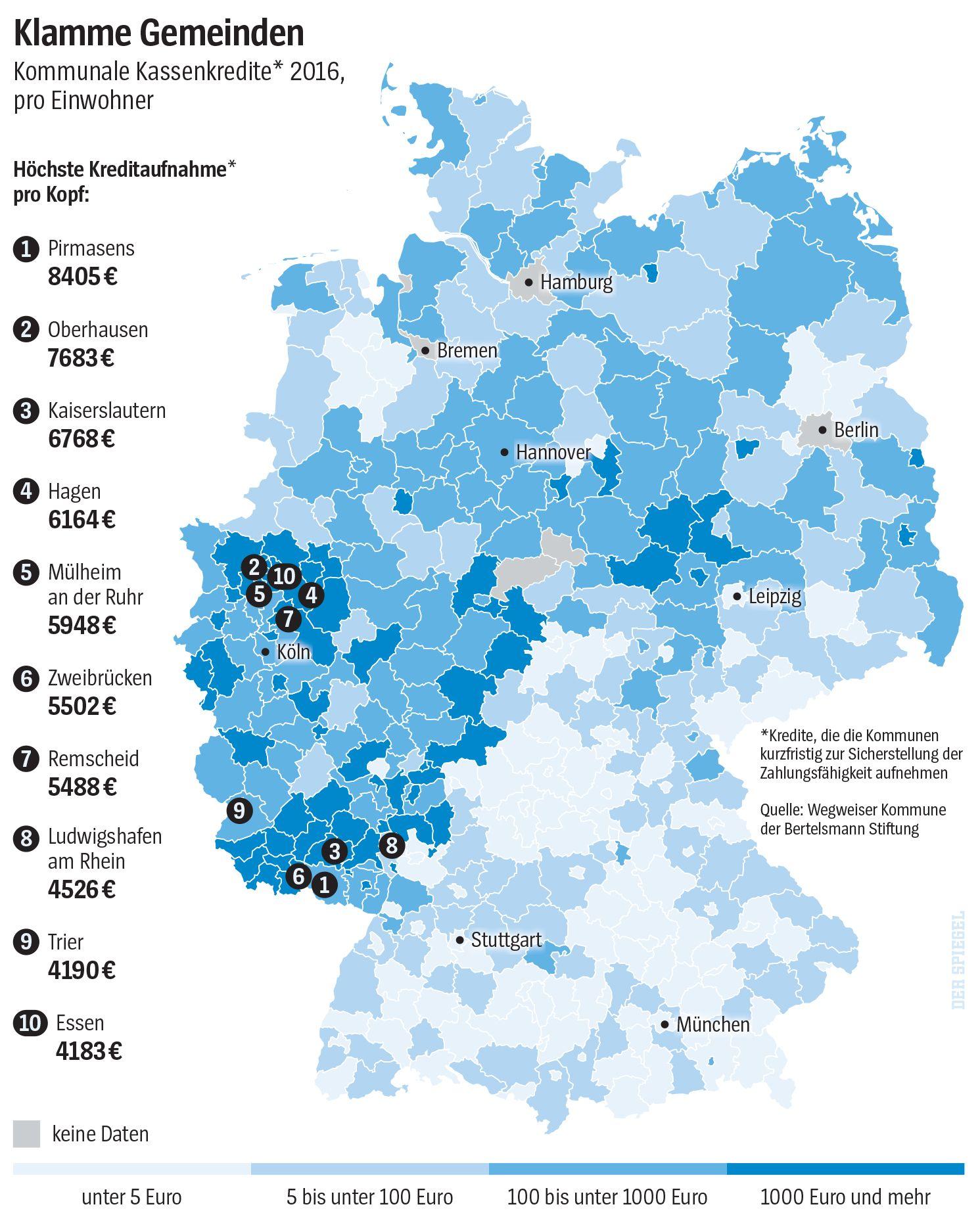 SPIEGEL-Grafik Kommunale Kassenkredite 2016