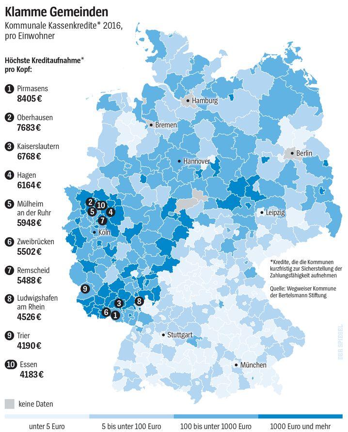 Klamme Gemeinden Kommunale Kassenkredite* 2016, pro Einwohner