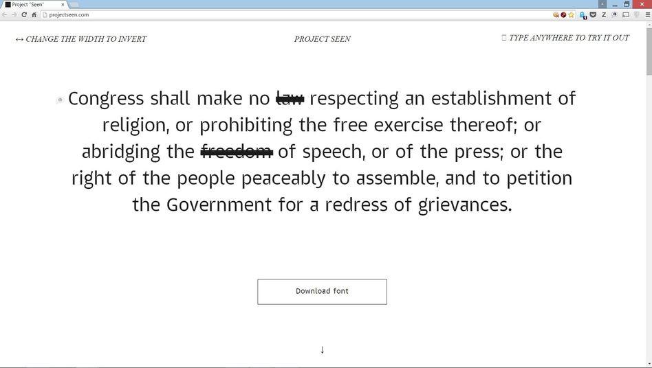 Die amerikanische Verfassung als Beispieltext: Selbst hier gibt es Schwärzungen