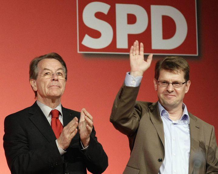"""Parteichef Müntefering (l.), Landespolitiker Stegner: """"Wir haben das Potential"""""""