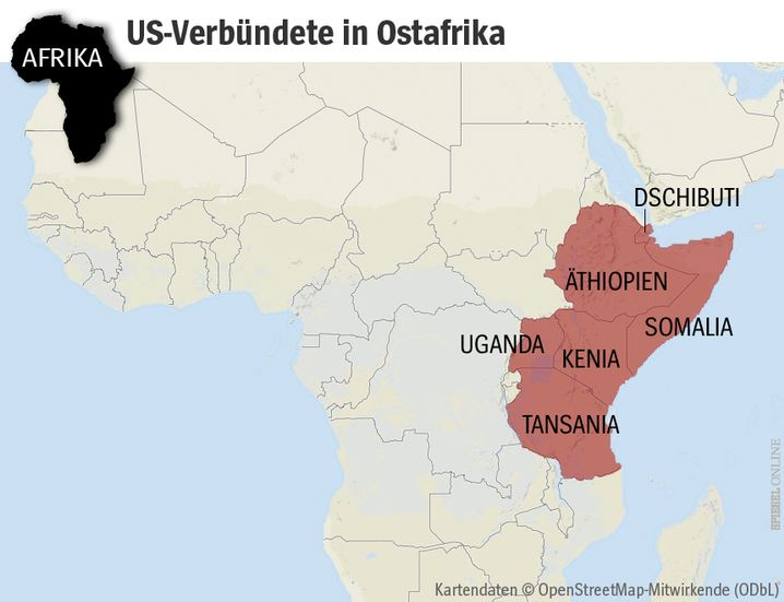 Hauptfeind al-Schabab: Dschibuti ist das Afrika-Drehkreuz der USA, in Somalia, Kenia und Uganda operierten Seals-Teams, Tansania und Äthiopien sind wichtige Verbündete
