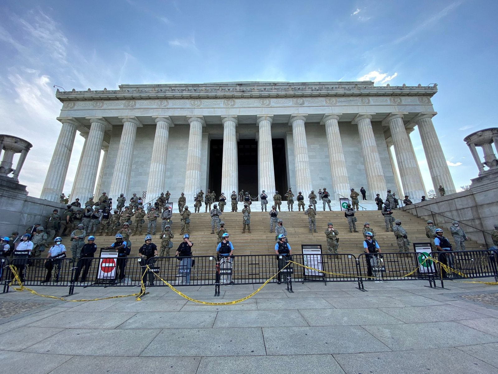 Social media image of law enforcement personnel on the steps of the Lincoln Memorial in Washington DC as protests spread across U.S. cities in reaction to the death in Minneapolis police custody of George Floyd
