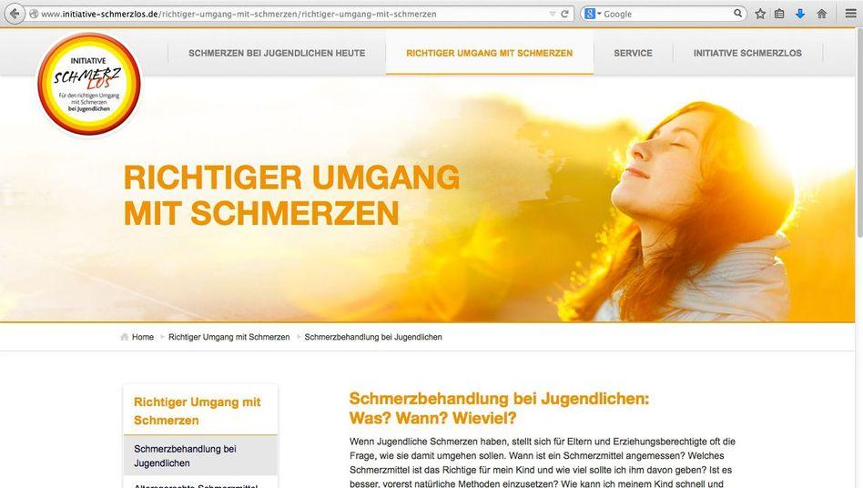 """Homepage der """"Initiative Schmerzlos"""": """"Kindersaft ist out"""""""