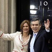 Britain's new Prime Minister Gordon Brown and his wife Sarah arrive at 10 Downing Street.