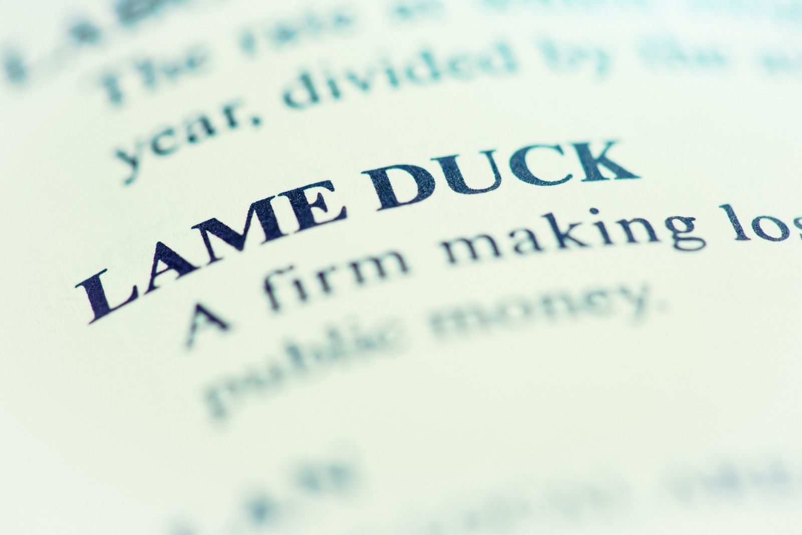 Definition of LAME DUCK in close-up on a page of a business dictionary