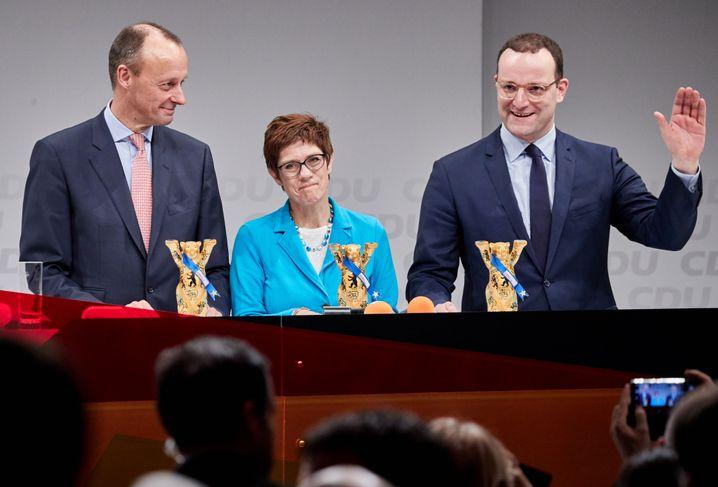 Friedrich Merz, Annegret Kramp-Karrenbauer, Jens Spahn (v.l.)