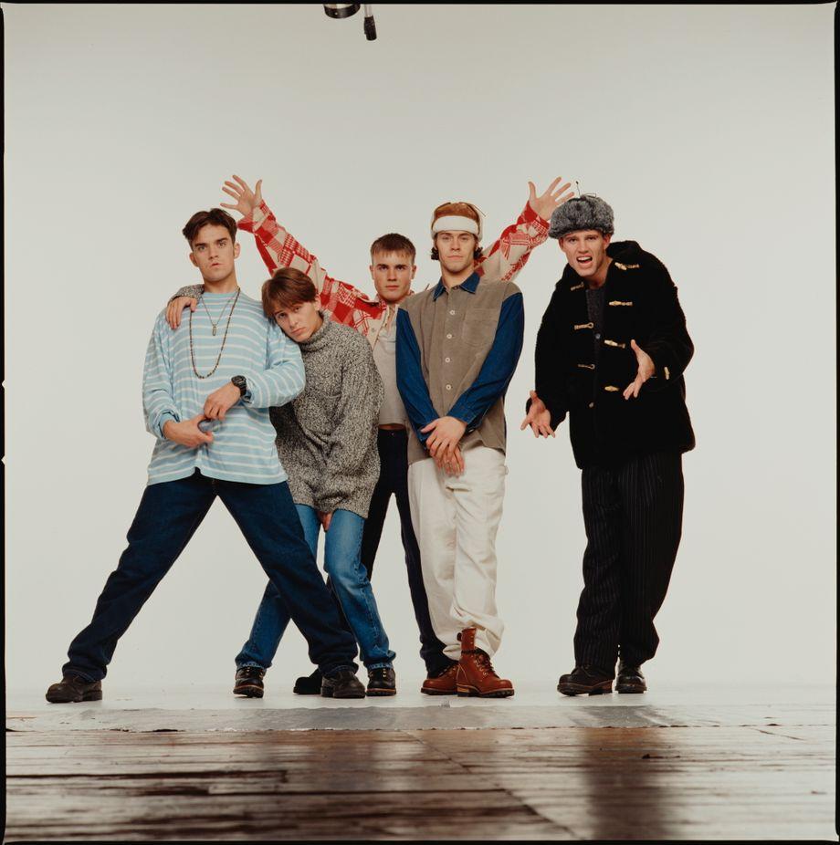 Take That 1993: Robbie Williams, Mark Owen, Gary Barlow, Howard Donald und Jason Orange (v.l.n.r.)