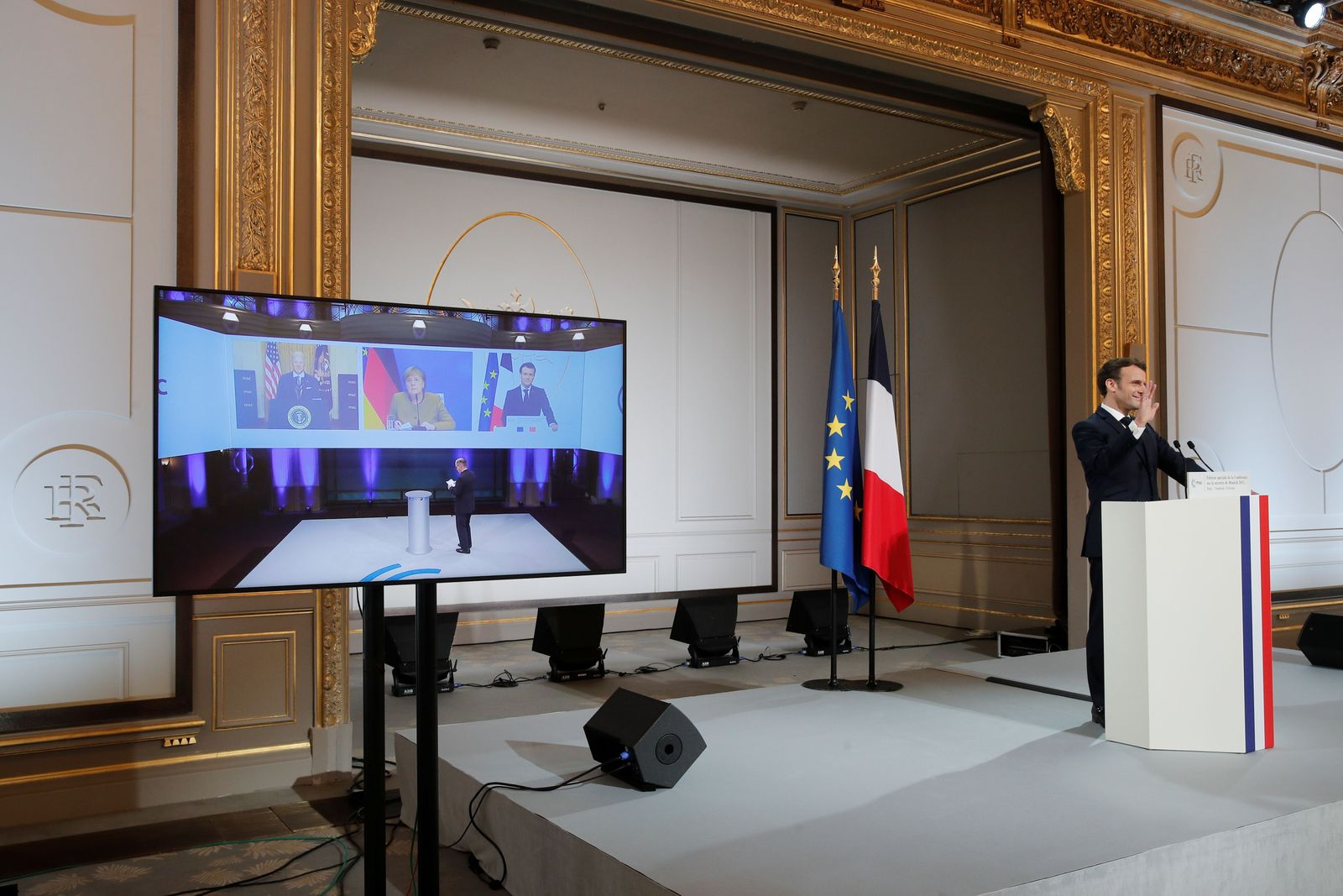 Video-conference meeting ahead of 2021 Munich Security Conference, Paris, France - 19 Feb 2021