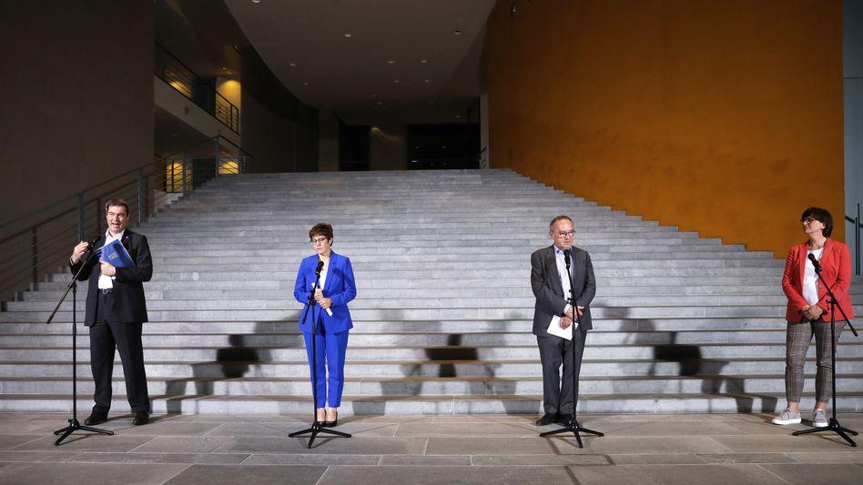 Koalitionsspitzen nach dem jüngsten Treffen Ende April: Geld ausgeben - nur wie?