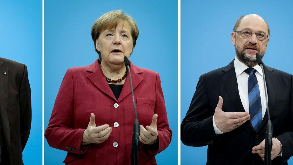 Groko-Chefverhandler Seehofer, Merkel, Schulz