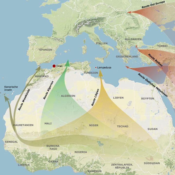 Karte: Flüchtlingsströme nach Europa
