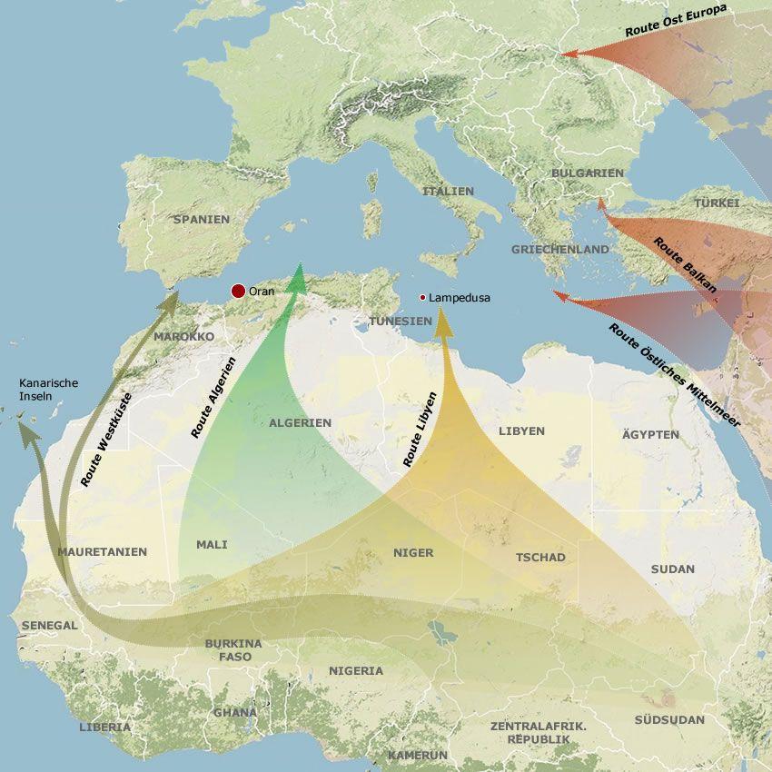 Flucht Ströme nach Europa 2013 Karte