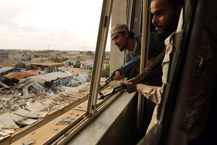Soldiers from the Libyan National Army, led by Marshal Khalifa Haftar