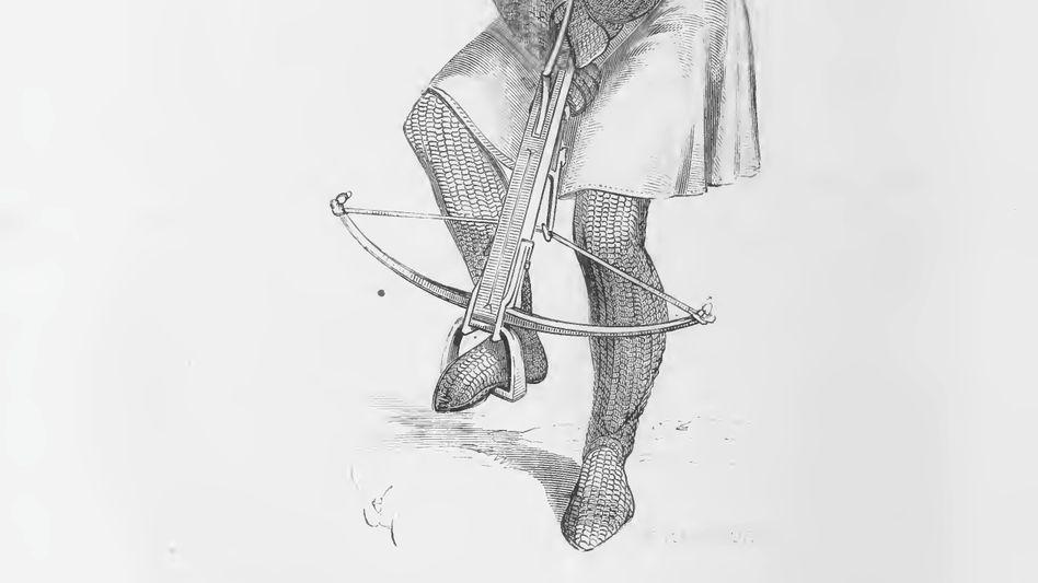 Durchschlagend: Armbrustschütze im Ganzkörperkettenpanzer (Zeichnung von 1874)