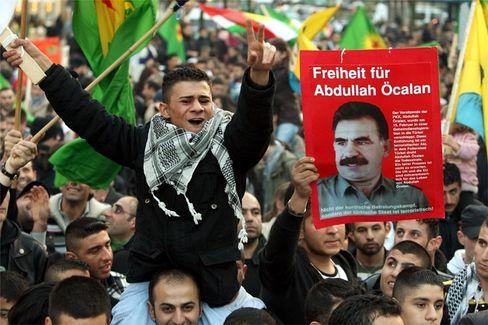 A demonstrator demanding freedom for imprisoned Kurdish leader Abdullah Ocalan in Berlin in November.