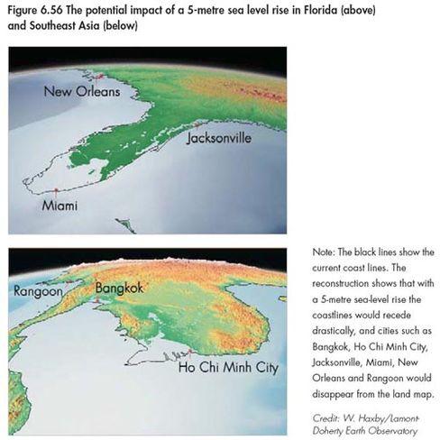 Steigender Meeresspiegel: Die Ostküste der USA, Küstengebiete Südostasiens und Nordeuropas werden überflutet werden