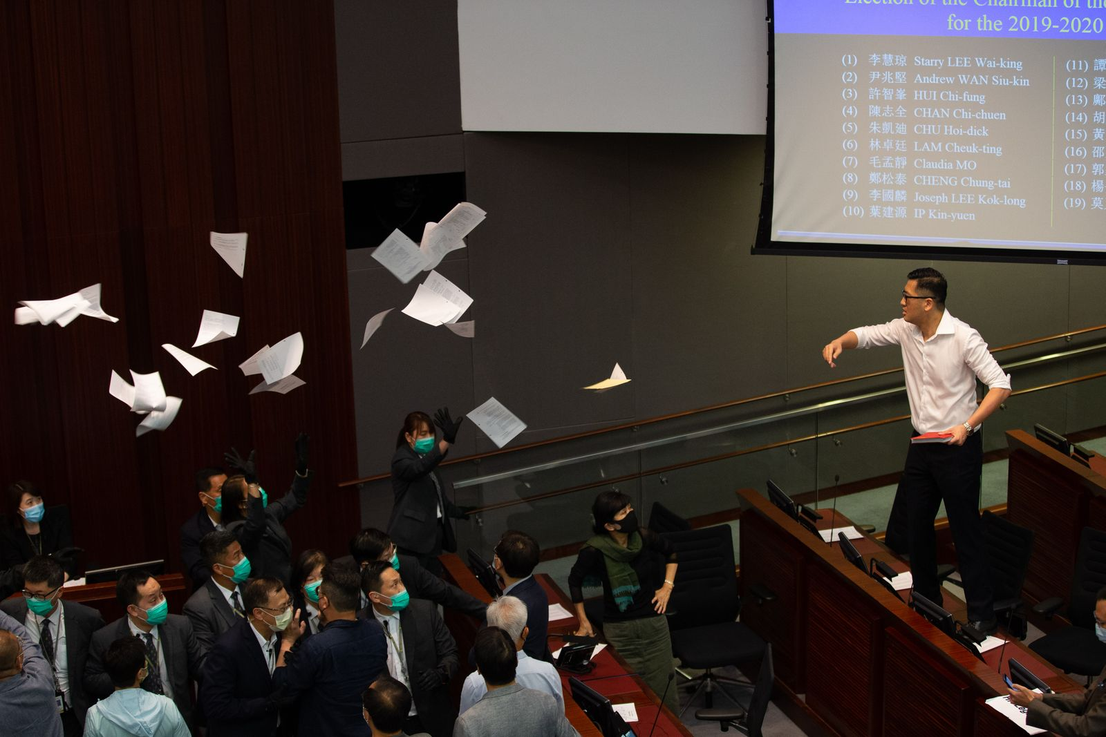 Lawmakers tussle over chairmanship of the House Committee, Hong Kong, China - 18 May 2020