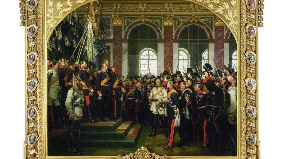 Politische Kunst: Anton von Werner malte mehrere Versionen seines Bildes – alle haben unterschiedliche Aussagen. Diese Version bekam Reichskanzler Otto von Bismarck zum Geburtstag, sie ist die einzige erhaltene und hängt heute im Bismarck-Museum in Friedrichsruh bei Hamburg.