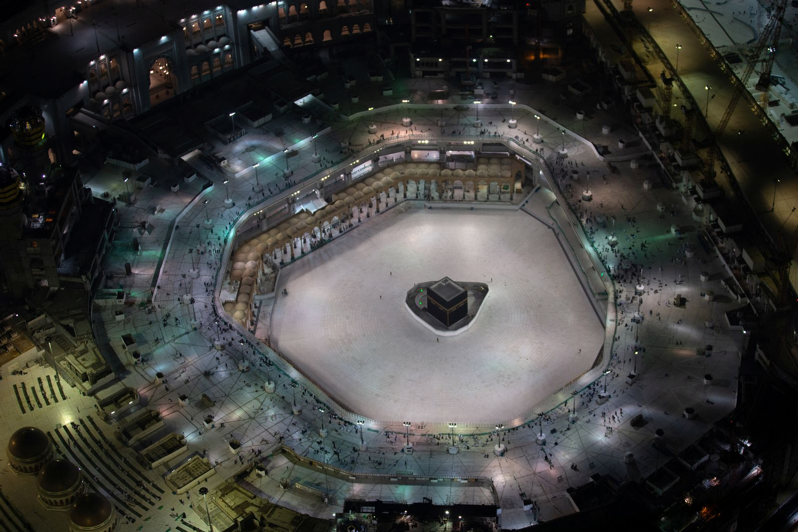 General view of Kaaba at the Grand Mosque, which is almost empty of worshippers, after Saudi authority suspended umrah amid the fear of coronavirus outbreak, at Muslim holy city of Mecca