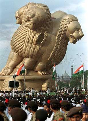 Ashoka-Löwe: Heute ein indisches Nationalsymbol schmückte das Tier einst die Säulen mit den religiösen Weisungen Ashokas