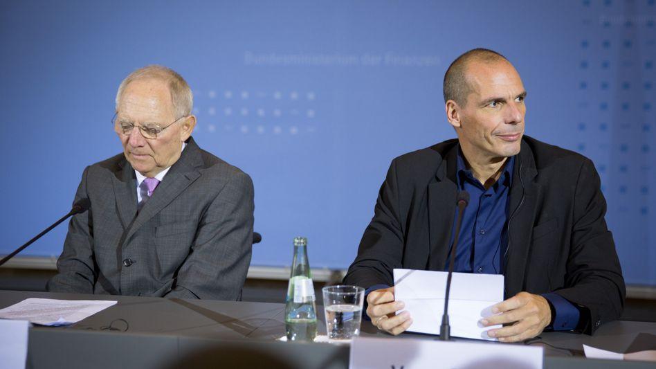 """Schäuble (l.), Varoufakis (Anfang Februar in Berlin): """"kein substanzieller Lösungsvorschlag"""""""