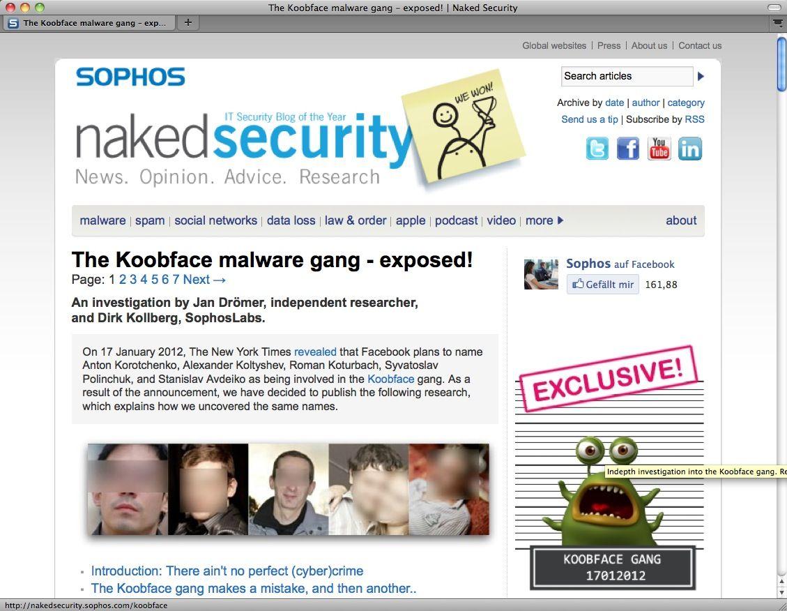NUR ALS ZITAT SCREENSHOT Koobface / Sophos NETWELT
