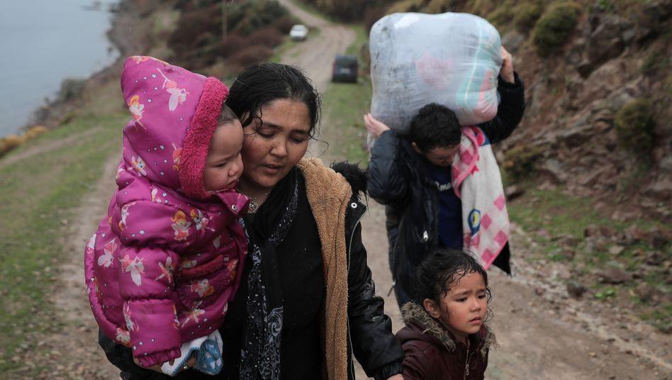 Flüchtlinge auf Lesbos nach der Ankunft