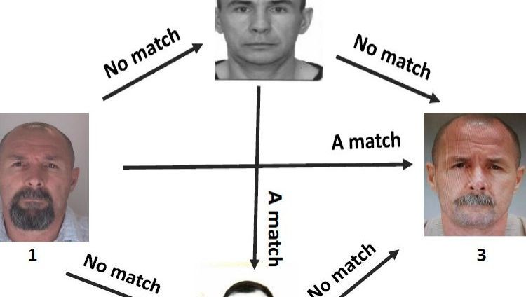 """Results of the forensic photo analysis: The suspected murderer """"Sokolov,"""" who was arrested in Berlin (1 and 3) and the convicted murderer Stepanov, who is in jail in Russia (2 and 4), are not the same person."""
