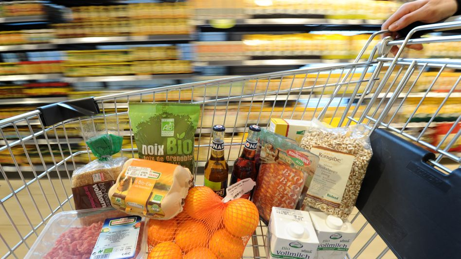 Einkauf von Ökoprodukten in einem Biomarkt in Hamburg