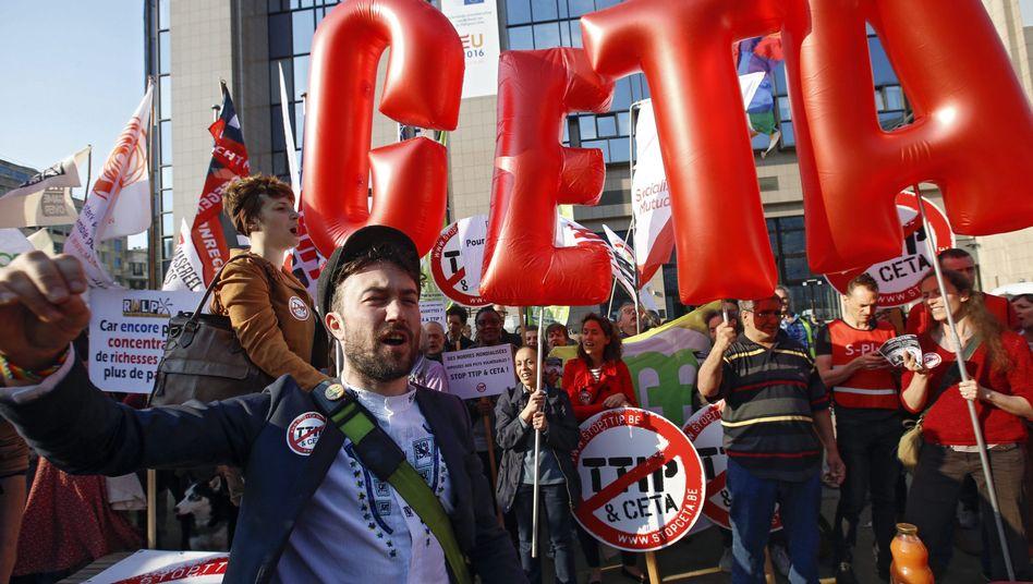 Proteste gegen Ceta in Brüssel