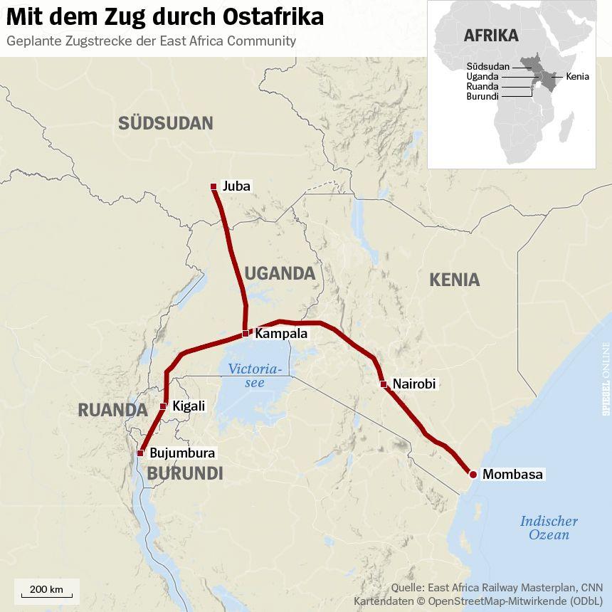 Grafik Karte - Mit dem Zug durch Ostafrika