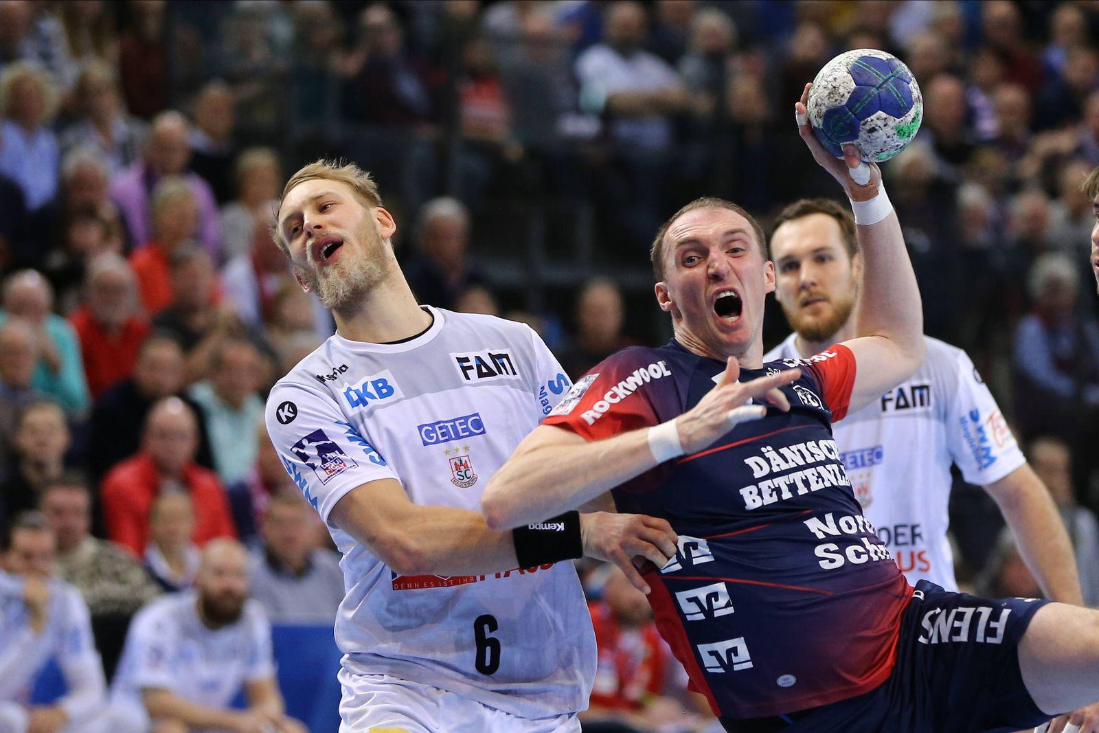 SG Flensburg-Handewitt vs SC Magdeburg, LIQUI-MOLY Handball Bundesliga, 02.02.2020; Flensburg Matthias Musche (SC Magde