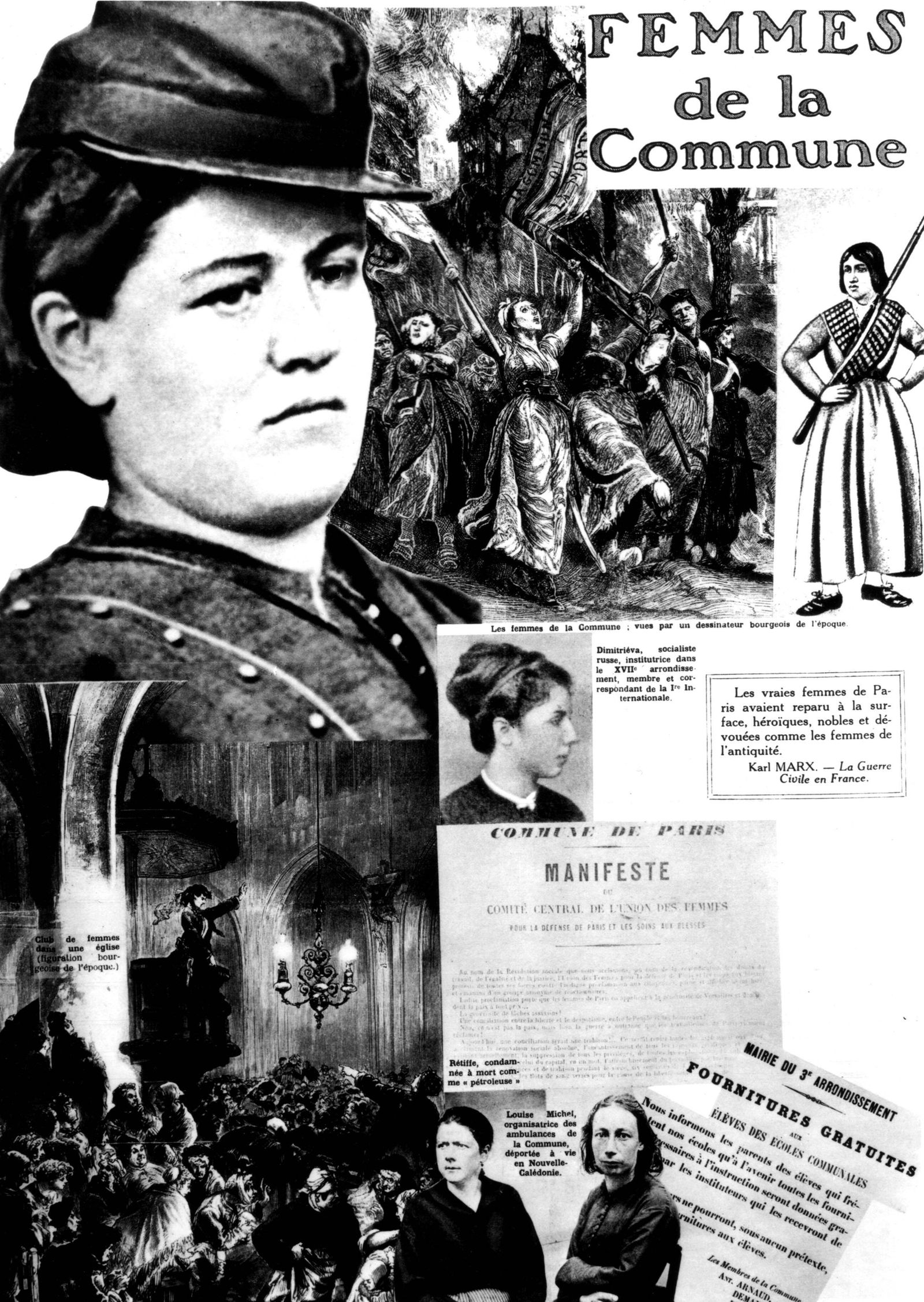 Commune women Photomontage published in the newspaper l Humanité in a special issue about the Par