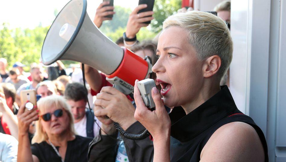 Marija Kolesnikowa bei regierungskritischen Protesten Ende August in Minsk