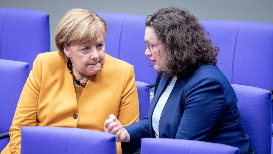Kanzlerin Merkel, SPD-Chefin Nahles: Kassensturz nach der Europawahl