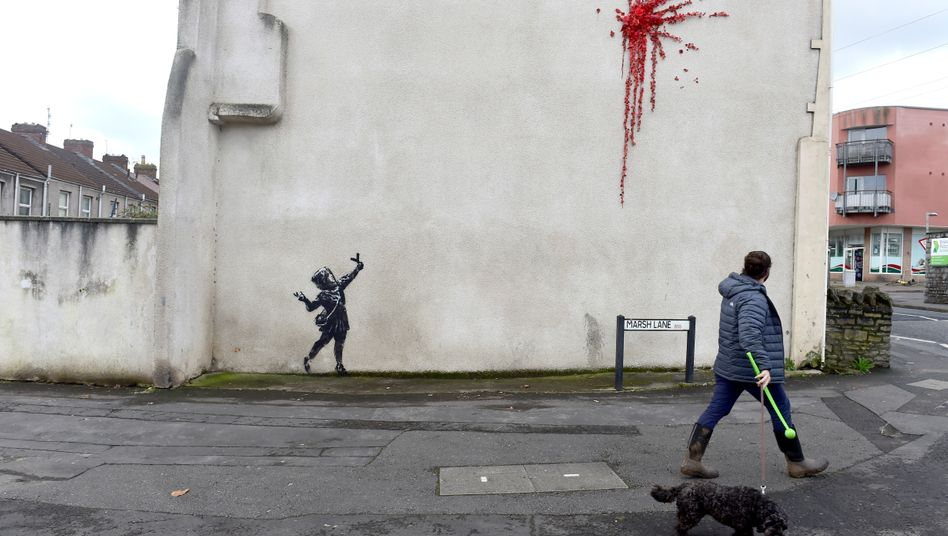 Neues Banksy-Werk in Bristol: Für ihn soll's rote Rosen hageln